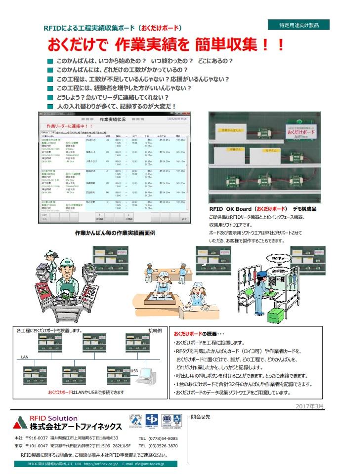RFIDによる工程実績取集ボード(おくだけボード)おくだけで作業実績を簡単取集!