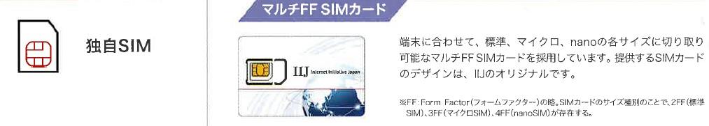 独自SIM マルチFF SIMカード