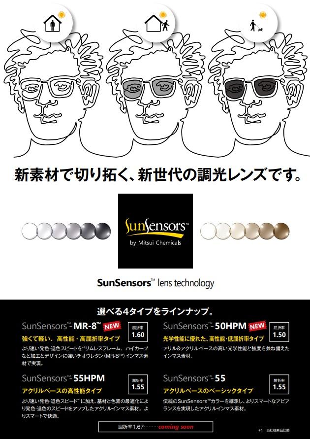 SunSensors lens technology 新素材で切り拓く、新世代の調光レンズです。
